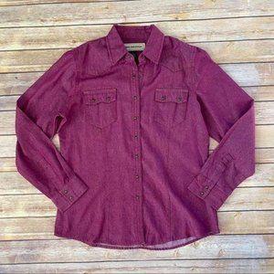 Bit & Bridle Western Pink Purple Snap Up Blouse M